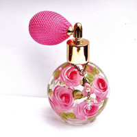 Glass Perfume Bottle Atomizer Hand Painted Roses Romantic Decor FREE SHIPPING