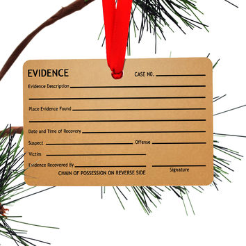 Evidence Tag Christmas Tree Ornament