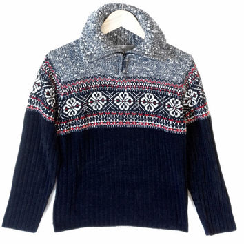 Drunk Uncle Style Zip Collar Nordic Ski Sweater