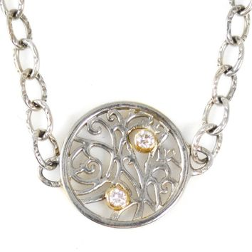 Necklace Single Station in Sterling Silver with Diamonds