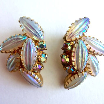 Opalescent Ribbed Art Glass JULIANA D&E Earrings, AB Rhinestone, Cluster, Vintage