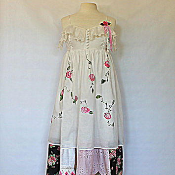 RESERVED / Women's Shabby Romantic Clothing / Gypsy Praire Girl Chic Clothes / Upcycled Dress / Garden Party Wedding / Altered Couture