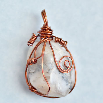 White and Grey, Copper Wire Wrapped, Polished Stone Statement Pendant, Womens Jewelry, Mens Jewelry, Unisex Jewelry, Statement Jewelry