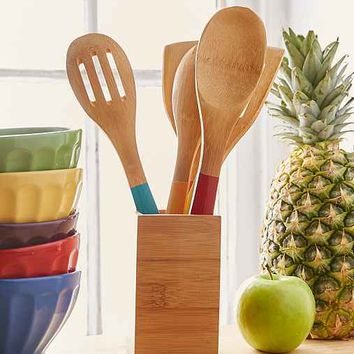 Bamboo Caddy And Utensil Set