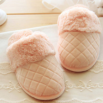 Pink Round Toe Flat Slippers