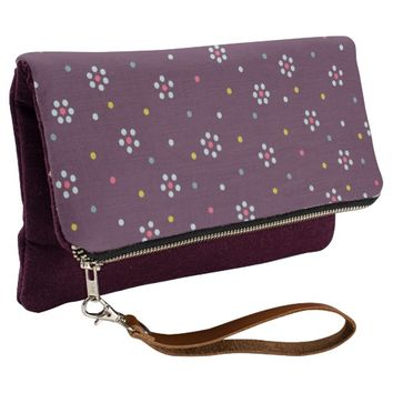 Purple Dotted Flowers Pattern Clutch