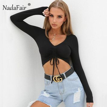 Nadafair sexy deep v neck crop tops women t shirts 2018 autumn long sleeve draped lace-up slim solid t-shirts casual pullovers
