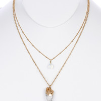 NECKLACE / NATURAL STONE CHARM / DOUBLE LAYER / METAL SETTING / LINK / CHAIN / 16 INCH LONG / 2 INCH DROP / NICKEL AND LEAD COMPLIANT
