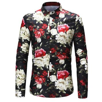 2018 Retro Floral Printed Man Casual Shirts Fashion Classic Long Sleeve Men Dress Shirt camisa masculina Plus Size 3XL
