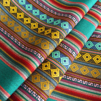 Aztec Fabric, Peruvian Fabric, Woven, Cusco Blue, 1 Yard