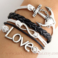 Bracelet-- Anchor bracelet, infinity bracelet, Love bracelet, braid leather bracelet