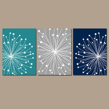 DANDELION Wall Art CANVAS or Prints Teal Gray Navy Bedroom Pictures Bathroom Artwork Bedroom Pictures Flower Dandelion Set of 3 Home Decor
