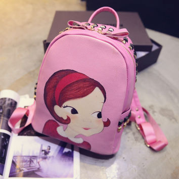 On Sale College Comfort Hot Deal Stylish Back To School Casual Korean Print Cartoons Vintage Rivet Backpack [6581836103]