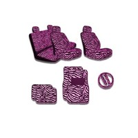 Premium New Style Pink Zebra 15pc Low Back Front Seat Covers, Bench Seat Cover with Head Rest, Steering Wheel Cover with Shoulder Pads, 4pc Front and Back Floor Mats