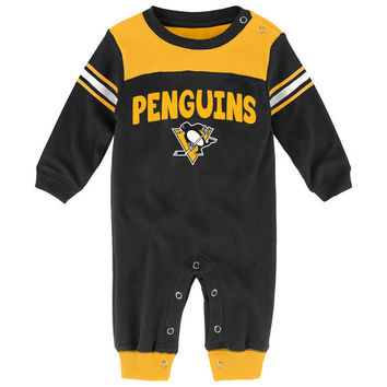 Pittsburgh Penguins Newborn & Infant Black Penalty Box Jumper Pajamas