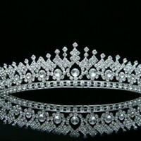 Bridal Pageant Wedding Rhinestones Crystal Tiara Crown - Silver Plated Clear Crystals T506