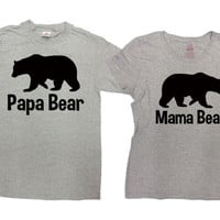 Matching Family Shirts Couple T Shirts Parent Gifts Mommy And Daddy TShirts His And Her Husband And Wife Papa Bear Mama Bear Tees SA187-385