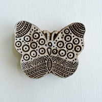 Butterfly Stamp: Hand Carved Wood Stamp, Clay Stamp, Large Indian Printing Block, Wooden Textile Stamp, Ceramics Pottery Stamp, from India