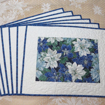 Quilted Christmas Placemats Blue Poinsettia 393