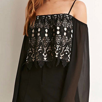Off Shoulder Lace Panel Top with Flared Sleeve in Black