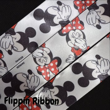 Laughing Mickey and Minnie Ribbon, 3 Yards, 1 1/2 inch Satin