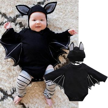 Cool Baby Girl Boy Cloth Sets Halloween Cosplay Balck Bat Tops Costume Bat Design Long-sleeve Rompers Hat Baby Unisex Bat COS san0AT_93_12