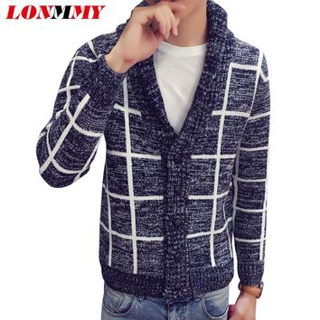 LONMMY M-2XL Plaid sweater men Knitted cardigan men Imported-clothing Christmas sweater cardigans Casual coat Lapel collar 2017