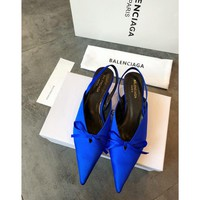 Balenciaga Knife Mules Royal Blue Pointed Toe Satin Mule With Kitten Heel - Best Online Sale