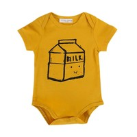 'Milk' Box Yellow Cotton Onesuit