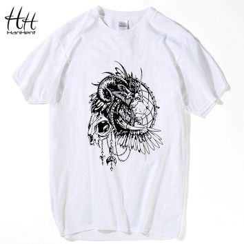 HanHent New Fashion Men Hip Hop Lion Print T shirt Mens White Black King Lion T-shirt Swag Tshirt Homme Clothing for men TH5259