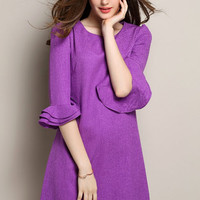 Purple Ruffle Sleeve Round Neckline Shift Dress