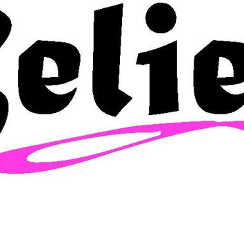 Believe Breast Cancer Awareness Ribbon Decal Sticker For Car Windows Laptop, book, wall, Room, Truck