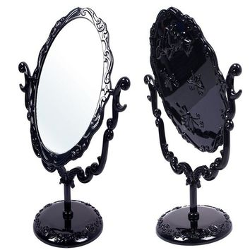 2016 hot sale New Makeup Desktop Rotatable Gothic Small Size Rose Stand Compact Mirror Black Butterfly Free Shipping