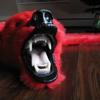 Dramatic Red Faux Bearskin Rug  Limited by fringecollection