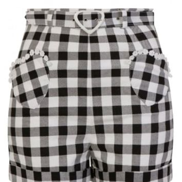 Collectif Lisa Vintage Gingham Retro Shorts | Attitude Clothing