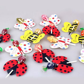 50PCS Set Cute Insect Bees Ladybug Butterfly Lollipop Decoration Card Birthday Party Wedding Decor Candy Stick Gifts For Kids