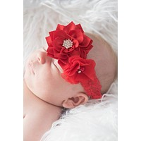 Red Floral Headband for Baby Girls