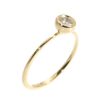 Elegant and Simple Diamond Ring - Engagement Gold Ring - 0.25 Carat Round Diamond - 14k Solid Gold.