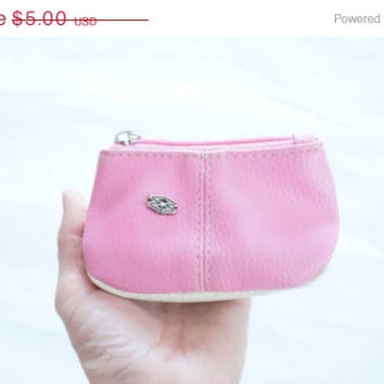 ON SALE Coin wallet pink white Faux Leather Vintage purse pouch zip lock closure Retro Gift light woman girl teenager lady made in Europe Li