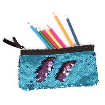 School Pencil Case for Girls Boys Kawaii Cute Mermaid Penal Pencilcase Sequin Multi Makeup Pen Bag Stationery Pouch Penalties