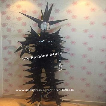 P31 Party cosplay black spine bodysuit Cone clothing disco show wears jumpsuit stage costumes dj bodysuit bar dress outfit club