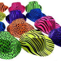 Dazzling Toys Neon Colored Animal Print Gangster Hats 24 Pack