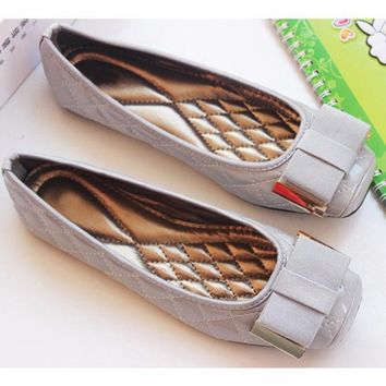 Soft square toes bowtie slip on womens ballet flats
