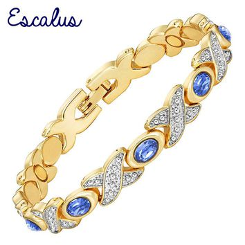 Escalus Royal Blue Stones Hand Wearing Gold Color Women Magnetic Bracelet Bangle Link Chain Jewelry Gift Wristband Charm