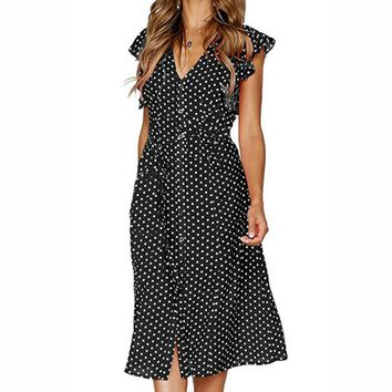 Butterfly Short Sleeve Polka Dot Print Sexy Dress Party Retro Women Midi Sundress Summer Irregular Buttons V-Neck Dresses GV995