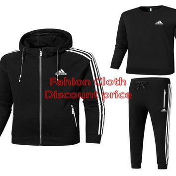 Adidas 2018 Spring Casual Mens Three-Piece Suit L-4XL 18019 Black