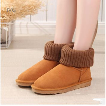 2018 women classic snow boots Knitting Wool cuff Patchwork Female ug Australian Warm Plush furry cotton Flat shoes Brand ivg