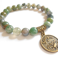Zodiac Scorpio sign Mala bracelet Yoga jewelry Moss Agate stretch beaded bracelet Reiki Healing Energy jewelry Birthday Unique Birthday Gift