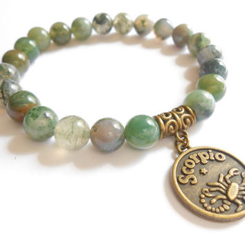 Zodiac Scorpio sign Mala bracelet Yoga jewelry Gemstone Moss Agate stretch beaded bracelet Reiki Healing Energy jewelry Birthday Unique Gift
