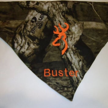 Monogrammed/Personalized Dog Bandana Camo Mossy Oak Over the Collar